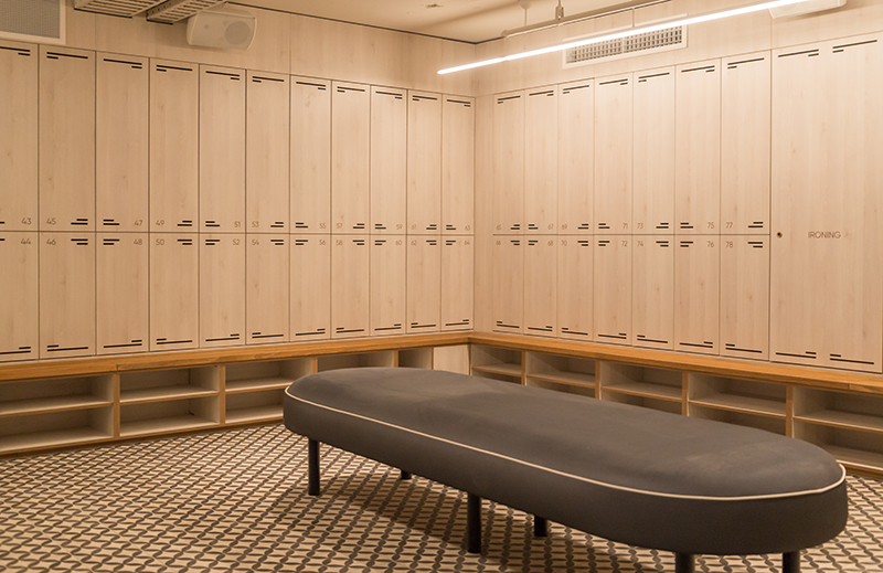 end-of-trip locker room in commercial facility